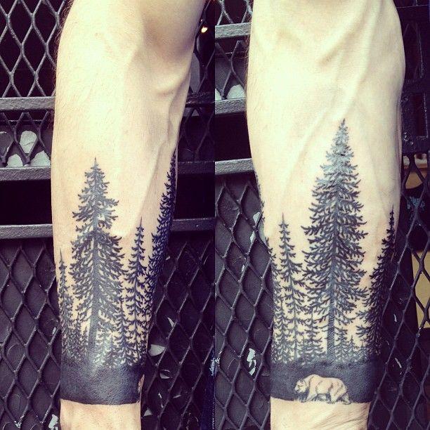 Tattoo.: Tattoo Ideas, Forests Tattoo, Wrist Tattoo, Sleeve Tattoo, Bears Tattoo, Negative Spaces, Trees Tattoo, Tattoo'S, Arm Tattoo
