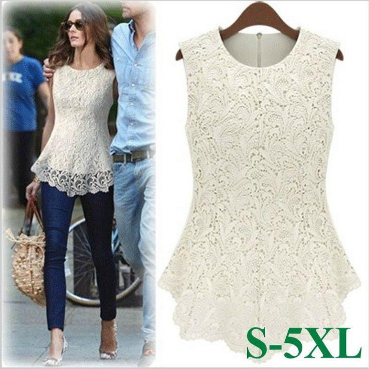 Nuevo 2014 desigual de la mujer blusas de encaje blanco tamaño más sexy de encaje de ganchillo tapas de las en de en Aliexpress.com