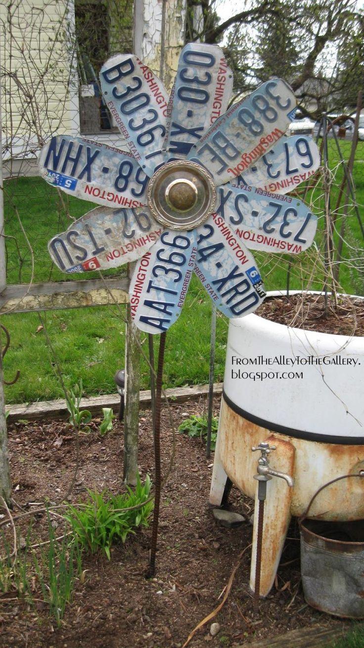 20 unique diy garden art ideas garden art license plate