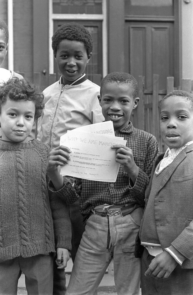 Young boys protesting. (Neil Kenlock's photos of the BRITISH BLACK PANTHER MOVEMENT, 1968-1972)