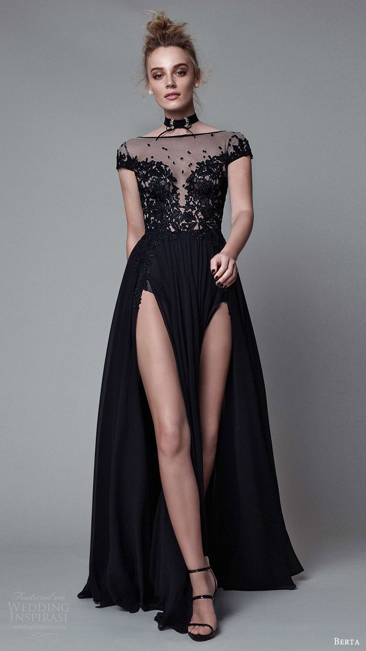 berta rtw fall 2017 (17 34) cap sleeves illusion bateau neck a line evening dress mv double slit skirt