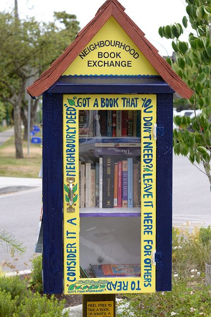 Neighborhood Book Exchange ~ Simply brilliant! Don't know how well they would hold up in the humid south though :/