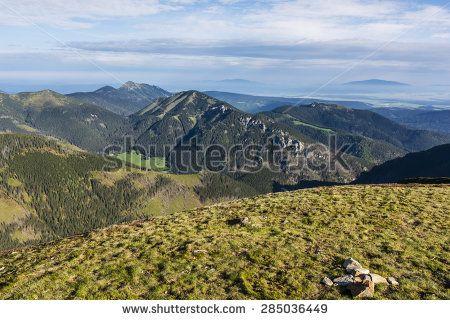Landscape Tatra mountain range as seen on the morning of spring season