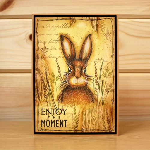 CS124D 'March Hares' Clear set contains 9 stamps. Designed by Sharon Bennett for Hobby Art. Card by Franka Benjaminsen