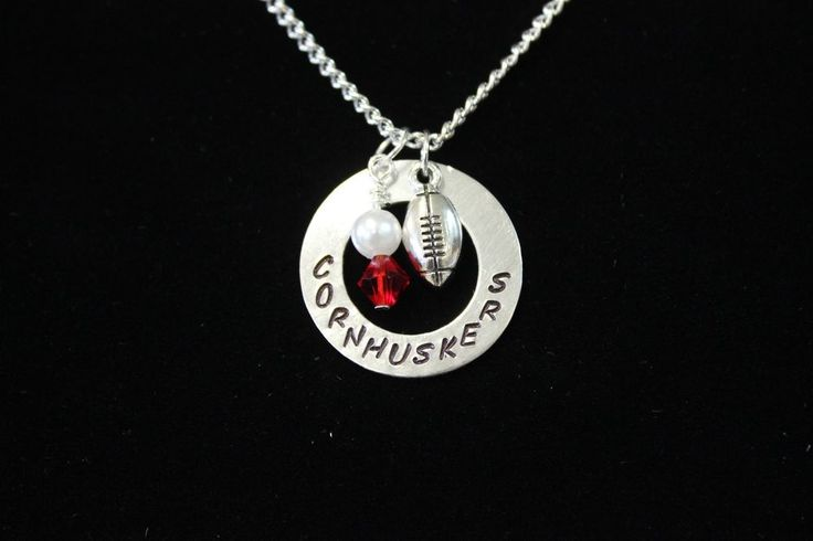 Nebraska Cornhuskers Hand Stamped Necklace with Silver Football Charm #Handmade…