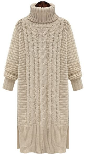 SheIn - High Neck Cable Knit Split Sweater Dress