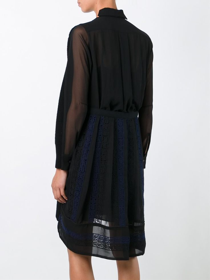 Sacai платье-джемпер с вышивкой