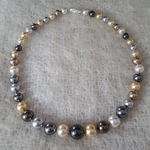 13a575c587e68 18 inch Multicolor Pearl Necklace Hand Knotted Graduated 8-14mm ...