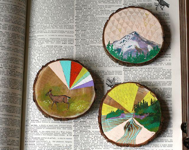 Habit of Art: paint on cedar wood slices.
