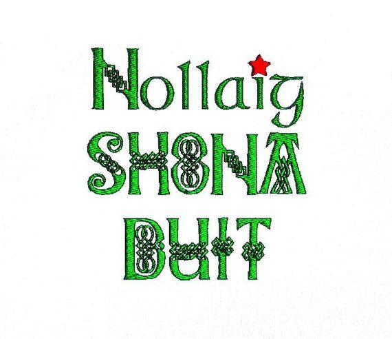 Merry Christmas Irish Greeting Nollaig Shona by BroderieCreative