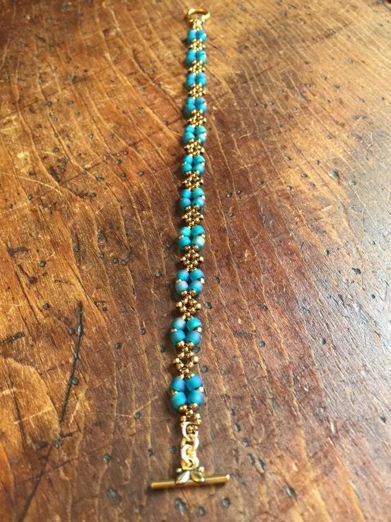 Bronze & turquoise bracelet, bronze bracelet, turquoise beaded bracelet, bronze bead bracelet, teal handmade bracelet, perfect gift