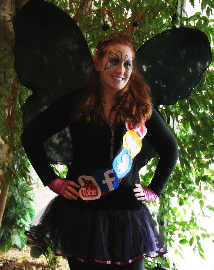 I love Halloween. DYI Social Butterfly Costume. #social #butterfly #costume