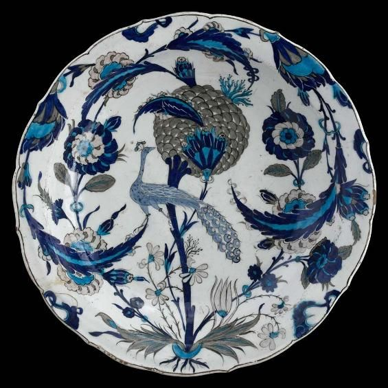 Peacock dish. Turkey, c. 1550. In the Persian culture that spread to the Ottoman court the bird is a symbol of royalty and power.