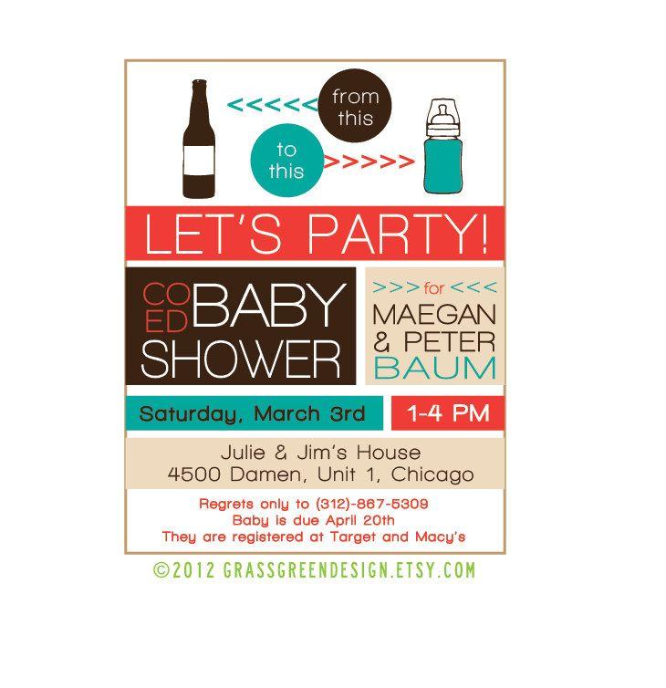 printable co ed baby shower beer bottle to baby bottle invitation