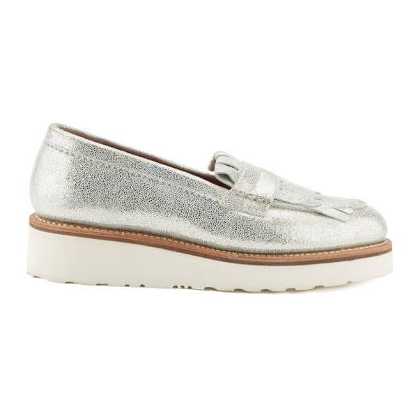 Grenson Women's Juno Sparkle Frill Loafers - Silver ($260) ❤ liked on Polyvore featuring shoes, loafers, silver, sparkly flats, red pointy toe flats, red pointed toe flats, metallic flats and flat shoes