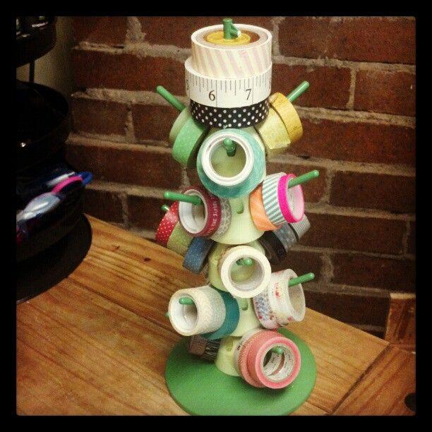 washi tape storage tower great thrifting idea!