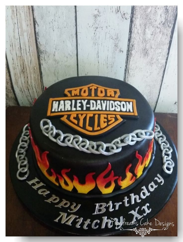 Birthday cake for a harley man single tier mud cake with flames silver edible chains and a - Sigle harley davidson ...