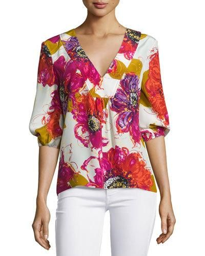 TCEGG Trina Turk Bubble-Sleeve Floral Silk V-Neck Top, Multicolor