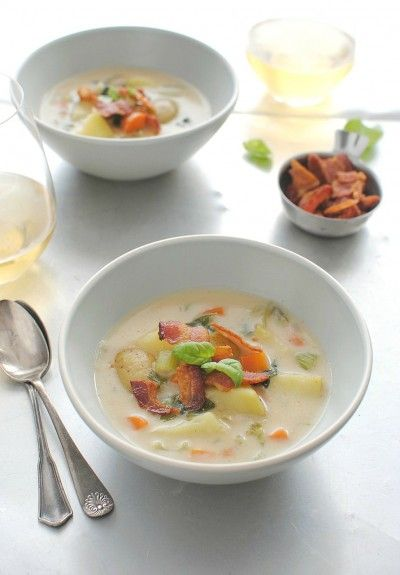 Creamy Potato Soup with Bacon and Basil | Bev Cooks