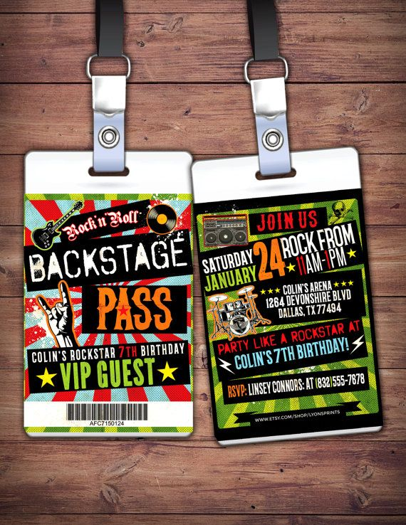 Punk Rock, VIP PASS, backstage pass, Vip invitation, birthday, pop star, rock star birthday, roller-skate party VIP, 80's, lollapalooza
