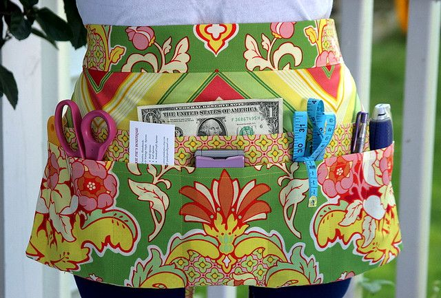 Green with Envy Utility Vendor Craft Apron with Angled Pockets by Punkie Pies, via Flickr