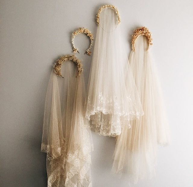 Four Victorian Style Bridal Headdresses with Waxy Flowers & Lacy Veils