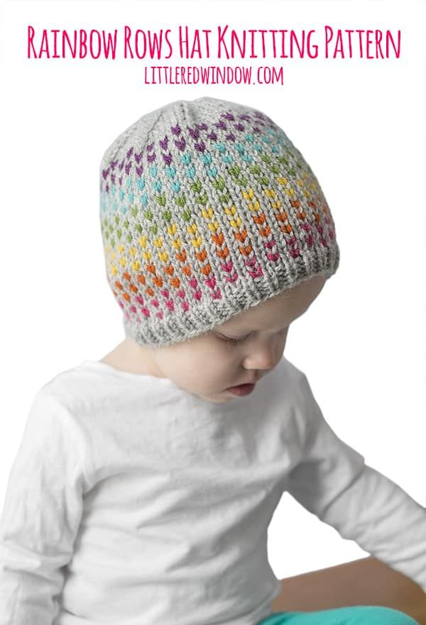 d9c0bffbe55 Knit up this gorgeous hat with rainbow dots for your newborn