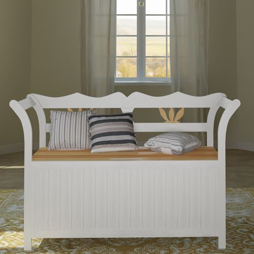 NEW Wooden Garden Storage Bench Garden Bench Seat Wooden Seat White BOX   eBay