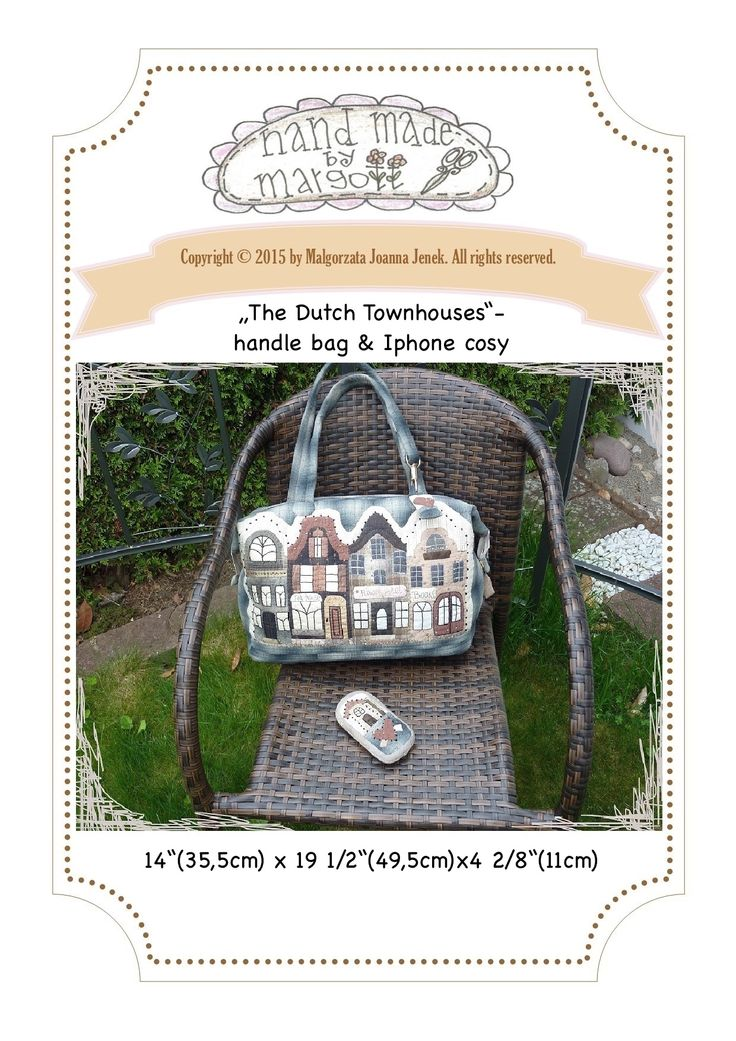 http://www.craftsy.com/pattern/quilting/accessory/the-dutch-townhouses-bag--iphone-cosy/145396?rceId=1432049454669~wmfyktqb #quilt #pdfpattern #handappliqué #sewing #patchwork #pattern #bags #bag #townhouses #houses
