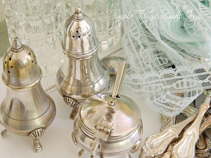 Vintage silverware and lace