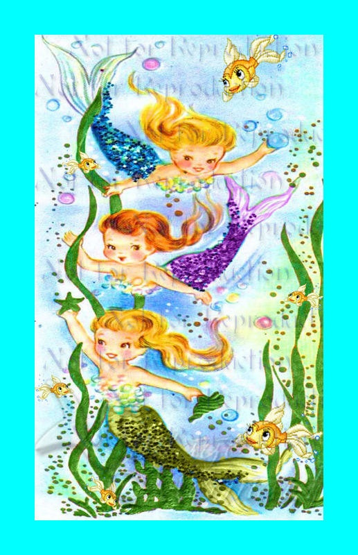 FABRIC BLOCK s525 RETRO MERBABIES POSTCARD Fabric Block by wwwvintagemermaidcom, $7.00