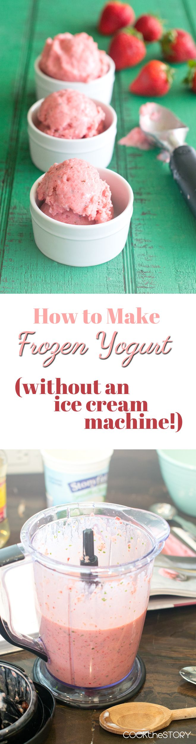 Recipe for no-churn Strawberry Frozen Yogurt with Basil and Lemon - no machine is needed to make this delicious dessert.