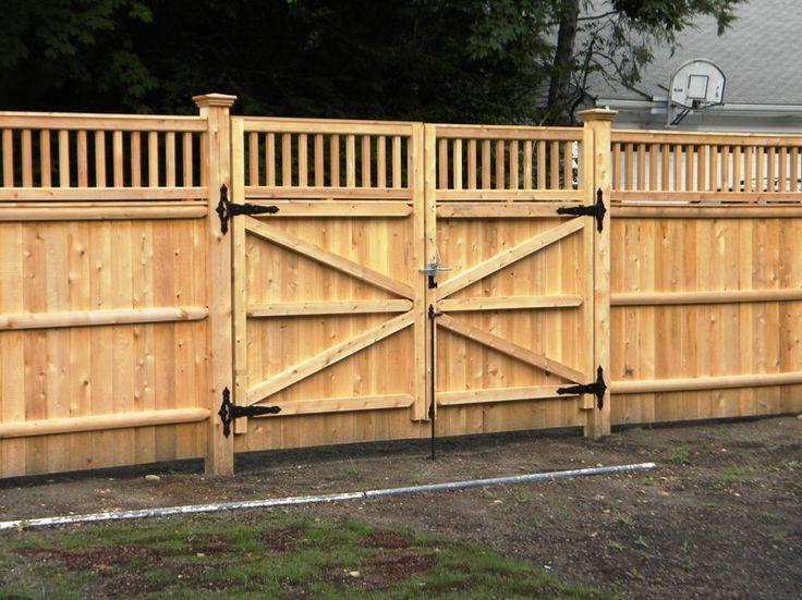 wood fence double gates design