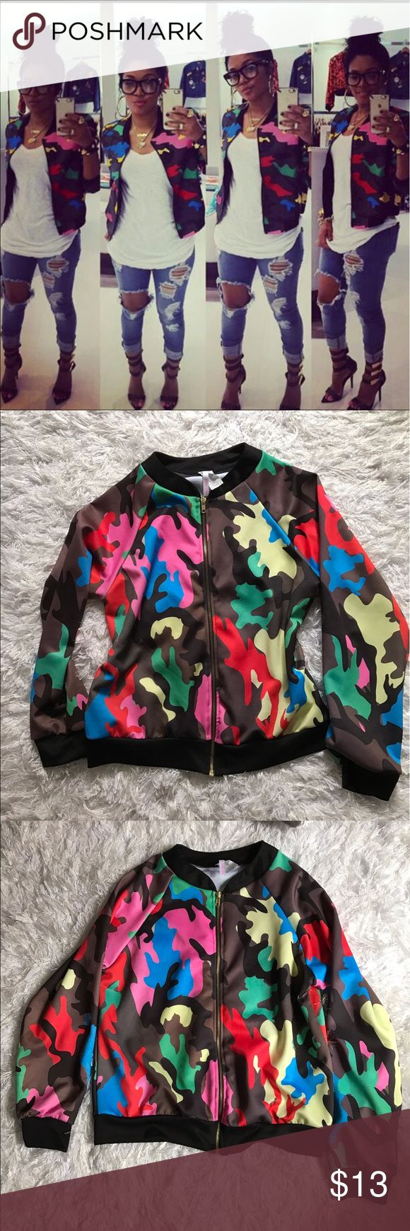 CAMO BOMBER JACKET M/L New! Purchased from Rasheeda Frost website pressed last year. Waist coat not a puffer or waxy nylon material.girly and can be dressed up or down. Valentino CAMO inspired print Jackets & Coats Utility Jackets