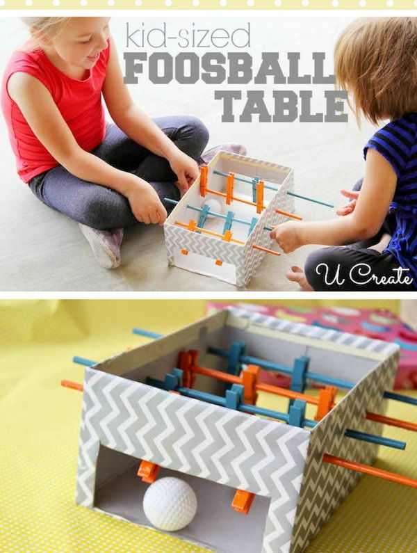 DIY Mini foosball table made with shoebox, clothespins and small wooden dowels. http://hative.com/diy-ideas-with-recycled-shoe-box/