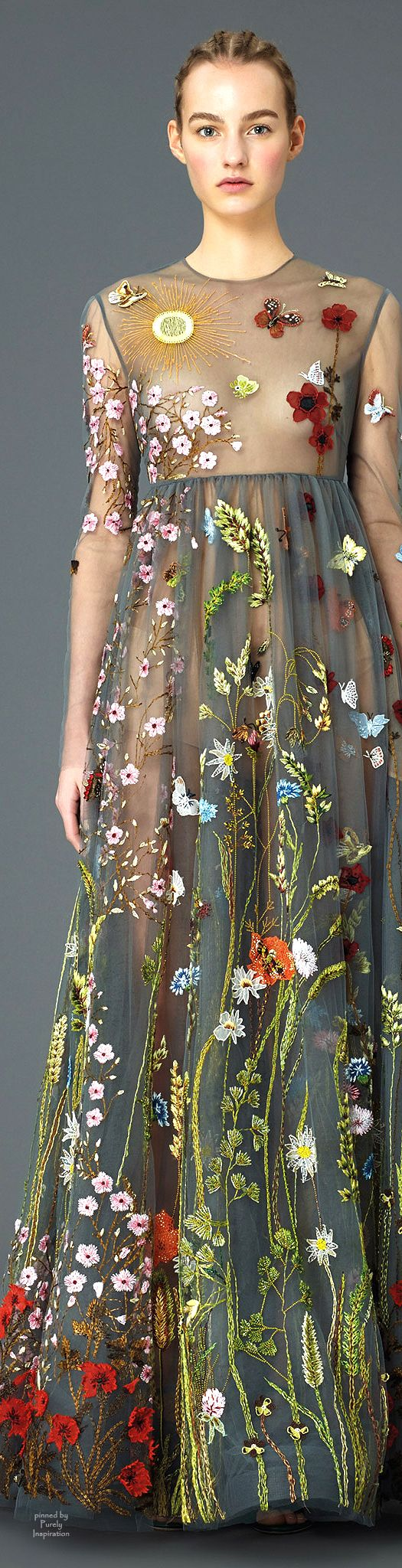 //Beautiful embroidery patterns; Valentino PF2015 | Purely Inspiration #fashion #floral