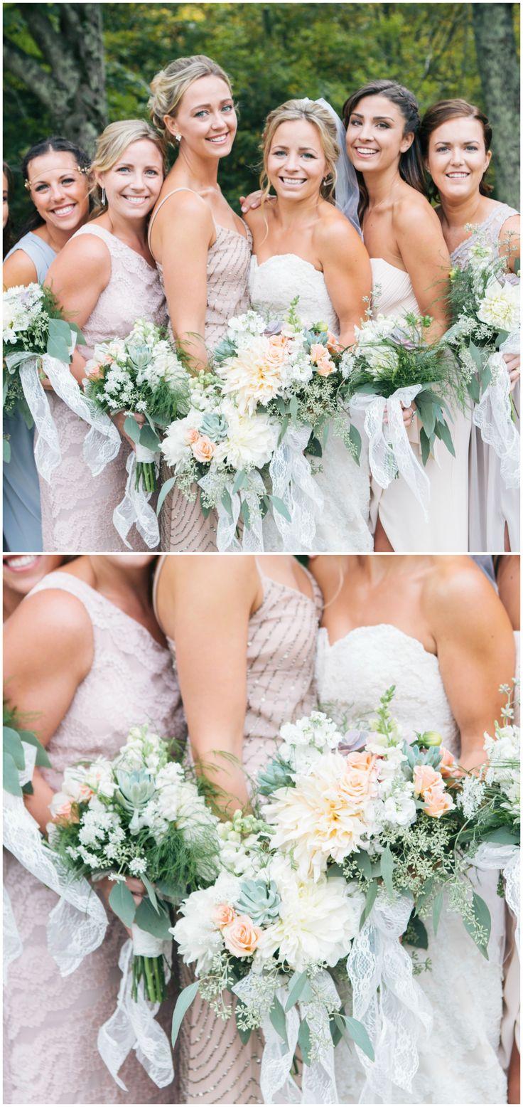Bridesmaid fashion, pastel blue and blush colored bridesmaid dresses, mismatched styles, white floral wedding bouquets // Samantha Lauren Photographie