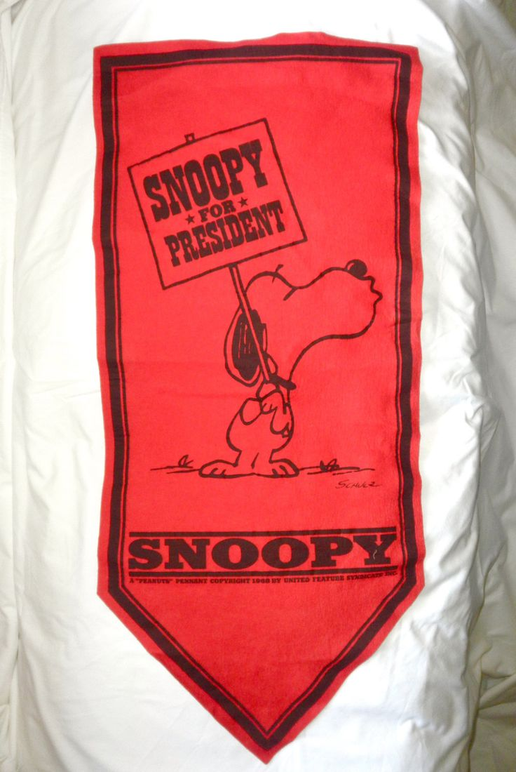 1968 Red Snoopy for President Felt Banner Pennant Peanuts Republican Party 2016 Presidential Candidates Jackpot Jen Vintage by JackpotJen on Etsy