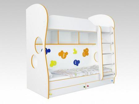 Кровать двухъярусная детская «Буквы», 80х200 см  — 20100р. ----- Двухъярусная кровать — отличное решение для небольшой детской комнаты. Она позволит удобно разместить спальные места детей, освобождая большую часть комнаты для игр и рабочей зоны. Кровать оборудована двумя выкатными ящиками под нижним ярусом, которые можно использовать для хранения белья или игрушек, а также тремя полками для размещения подручных предметов. Основание на гнутых ламелях для первого яруса входит в комплект…