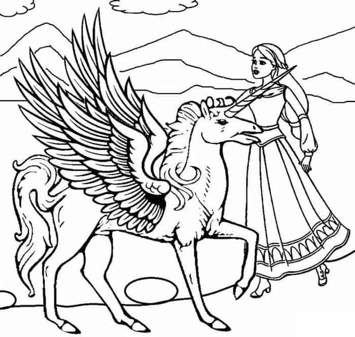Barbie Unicorn Coloring Pages From Barbie Coloring Pages Free And