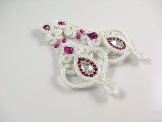 Pendientes de Novia de Soutache rosa blanco por byPiLLowDesign