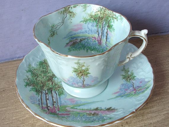 A Garden in a Tea Cup... antique c.1930's Aynsley bone china English tea cup/saucer set