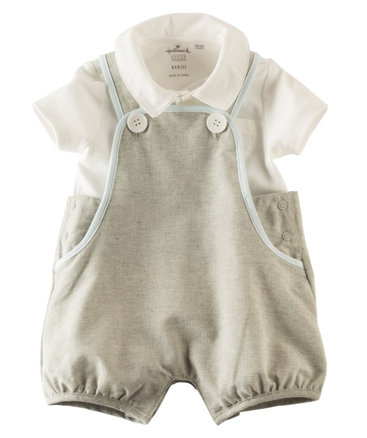 He'll be the most stylish baby on the block with this 100% cotton overall set made exclusively for Hallmarkbaby.com.