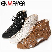 Enmayer большой размер 34 - 43 мода вырезы узелок женщины сандалии открытым носком низкие клинья чешские летняя обувь пляжная обувь женщин(China (Mainland))