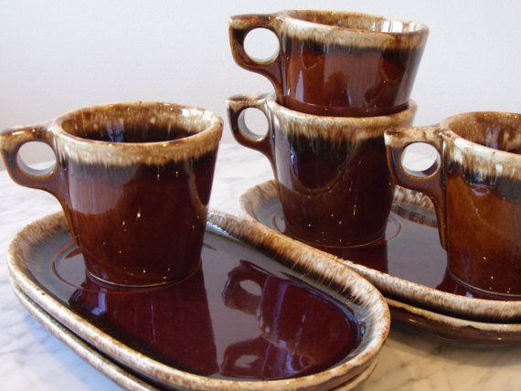 Hull Brown Drip Pottery Cups and Plates Set of 4 by orchard8retro