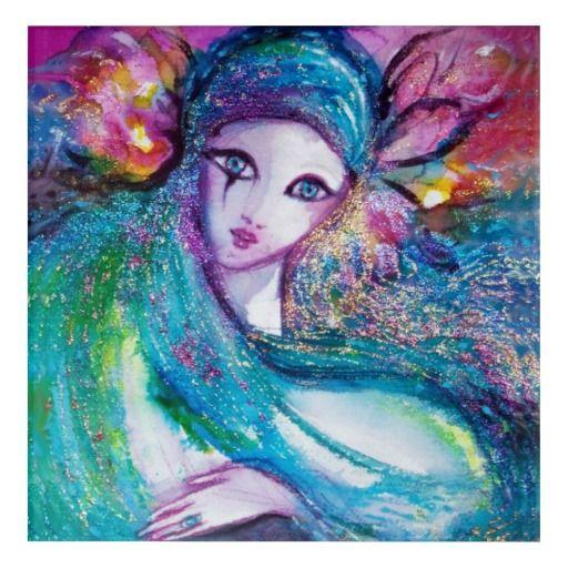 MASK IN BLUE / Venetian Masquerade Faces Acrylic Print #karneval #carnevale #fineart #carneval #mardigras #masquerade