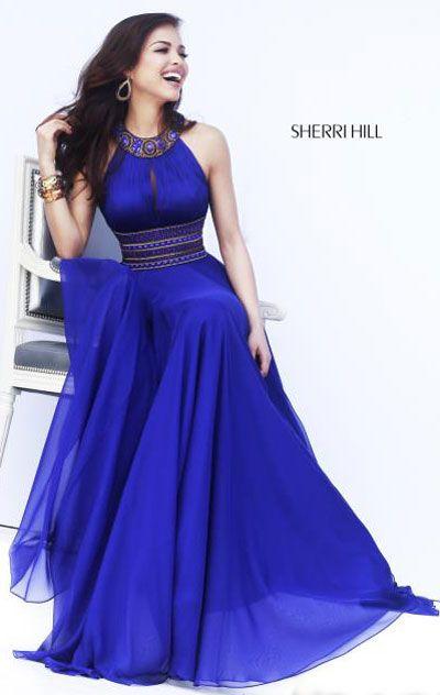 Beaded-Neck Purple 2015 Sherri Hill 11086 Keyhole Long Bodice Prom Dresses
