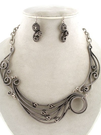 Chunky Steampunk Antique Silver Arty Zipper Design Swirl Statement Necklace Set