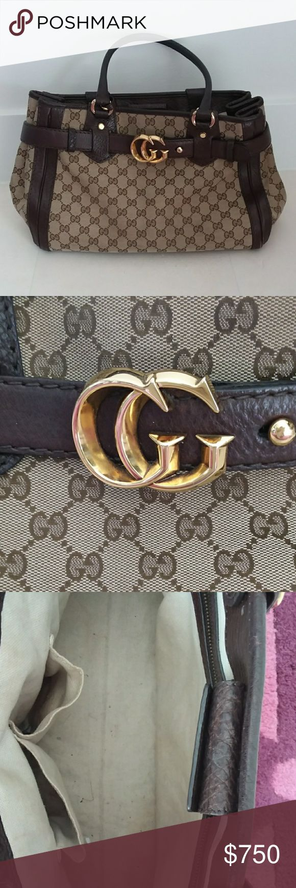 "GUCCI Vintage handbag Authentic. I love this bag, its the perfect side. Loops are large enough to carry on shoulder. 15"" across 5"" wide almost 10"" in height. No signs of use. A little in the inside. Inside zip pocket and 2 open pockets. gucci Bags Shoulder Bags"