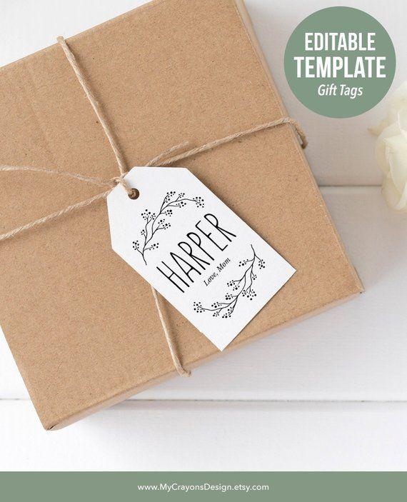 rustic christmas gift tags template editable holiday gift tags
